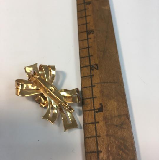 Vintage Vintage colored rhinestone bow brooch pin Image 1