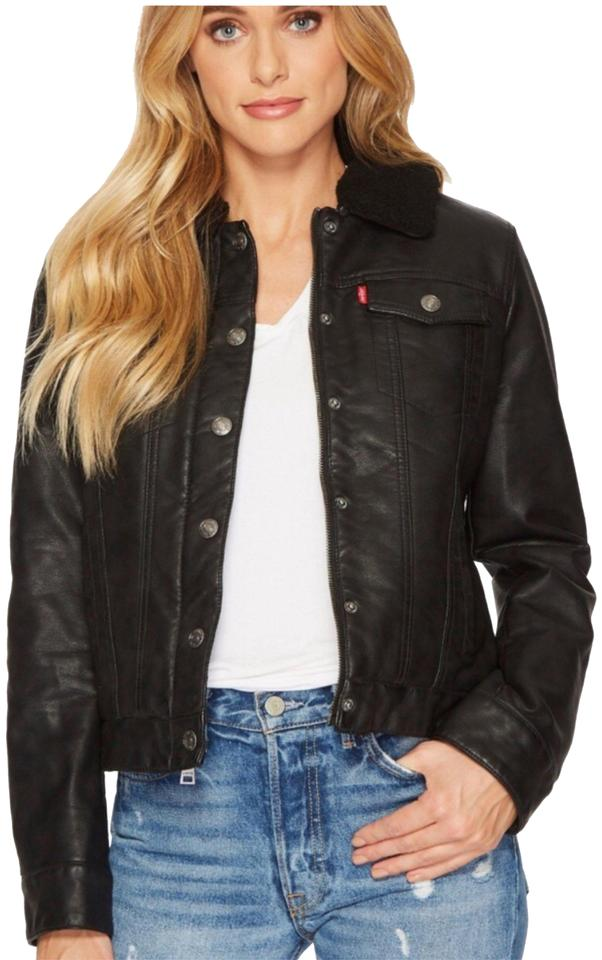 fb76c279c Levi's Black XS Women's Faux Leather Sherpa Jacket Size 2 (XS) 44% off  retail
