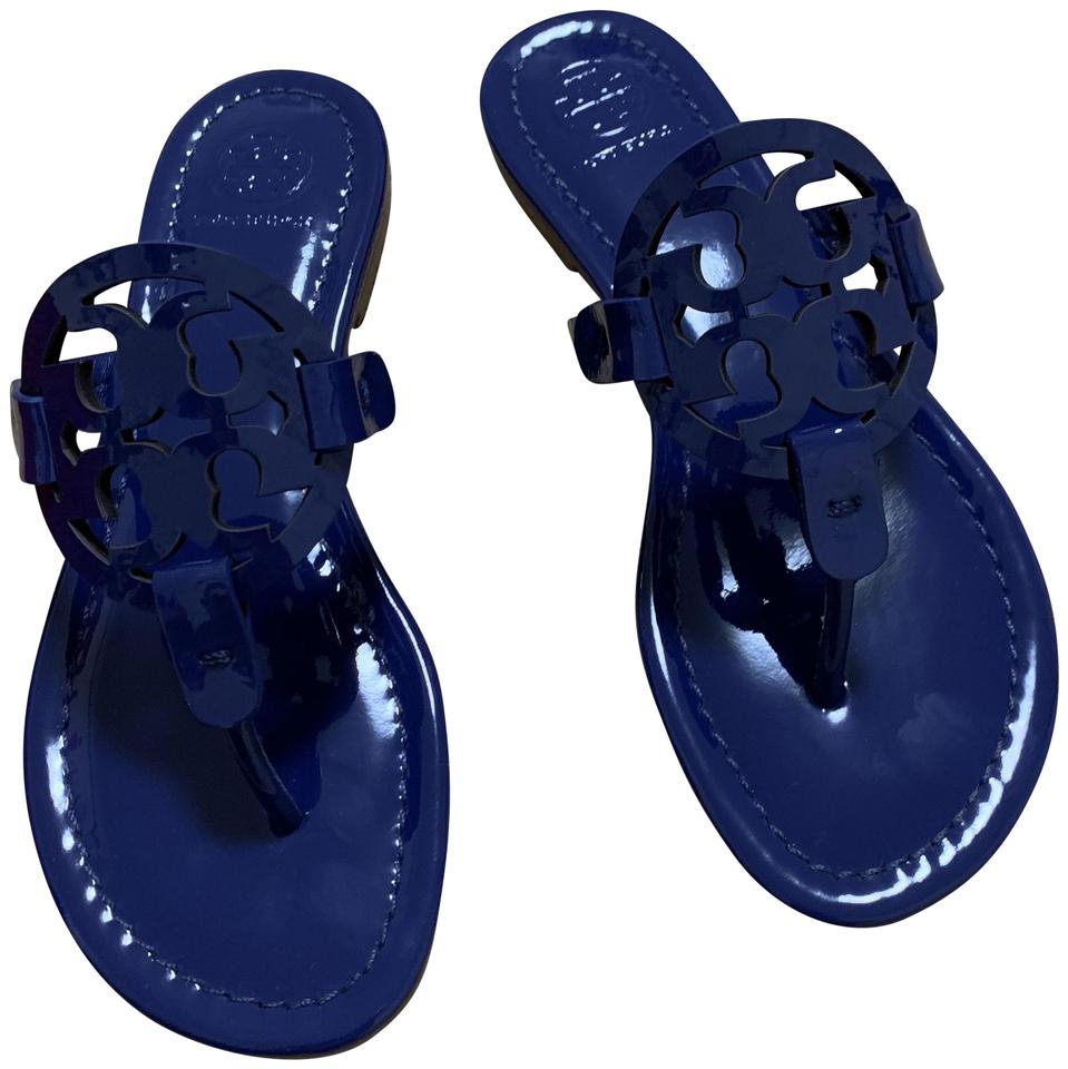 fa831fdd033a Tory Burch Blue Miller Patent Leather Sandals Size US 5.5 Regular (M ...