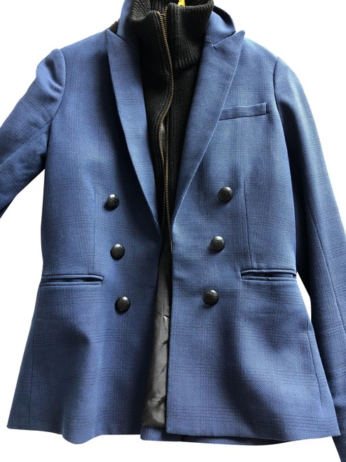 Item - Blue and Black With Inner Vest Blazer Size 2 (XS)