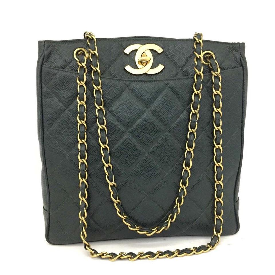 91791807521b Chanel Quilted Matelasse Cc Logo Caviar Skin Chain Shoulder Black ...