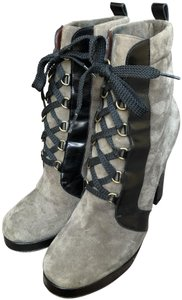 Marc by Marc Jacobs Suede Black Leather Platform Grey Boots