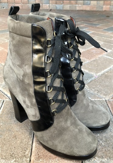Marc by Marc Jacobs Suede Black Leather Platform Grey Boots Image 6