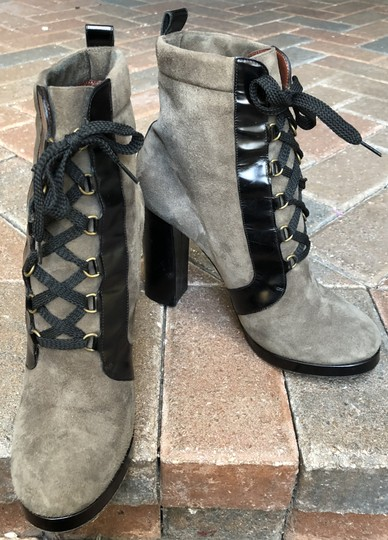 Marc by Marc Jacobs Suede Black Leather Platform Grey Boots Image 7