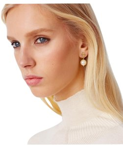 Tory Burch NEW TORY BURCH DROP PEARL LOGO EARRINGS DUST BAG NWT