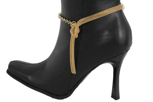 Alwaystyle4you Women Gold Mesh Metal Boot Chains Bracelet Shoe Infinity Braided Charm Image 1