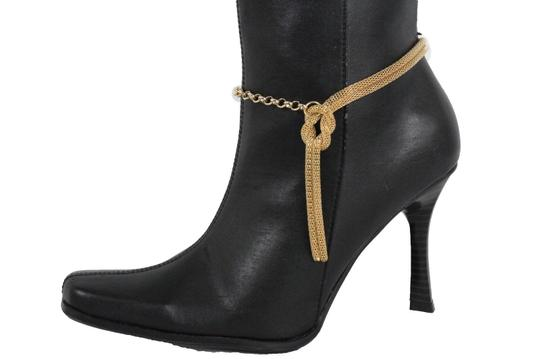 Alwaystyle4you Women Gold Mesh Metal Boot Chains Bracelet Shoe Infinity Braided Charm Image 2