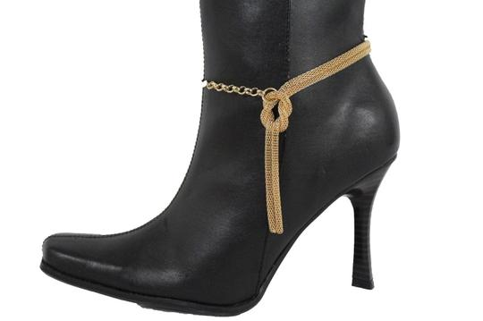 Alwaystyle4you Women Gold Mesh Metal Boot Chains Bracelet Shoe Infinity Braided Charm Image 3