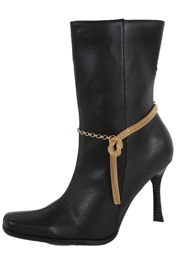 Alwaystyle4you Women Gold Mesh Metal Boot Chains Bracelet Shoe Infinity Braided Charm Image 4