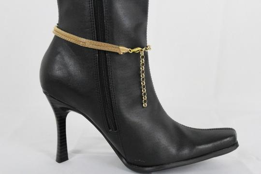 Alwaystyle4you Women Gold Mesh Metal Boot Chains Bracelet Shoe Infinity Braided Charm Image 6