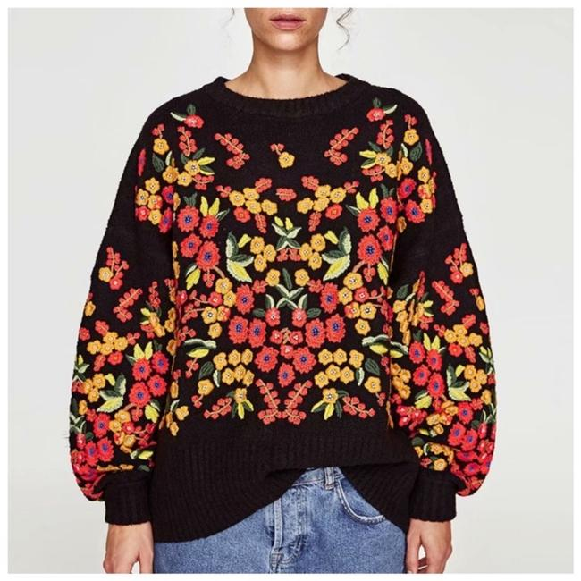 Preload https://img-static.tradesy.com/item/24494074/colorful-embroidery-floral-c68-black-yellow-sweater-0-0-650-650.jpg