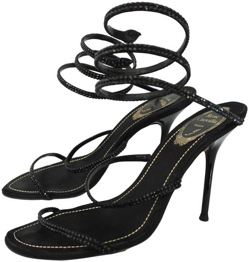 Rene Caovilla Wrap Around Embellished Strappy Black Sandals Image 0