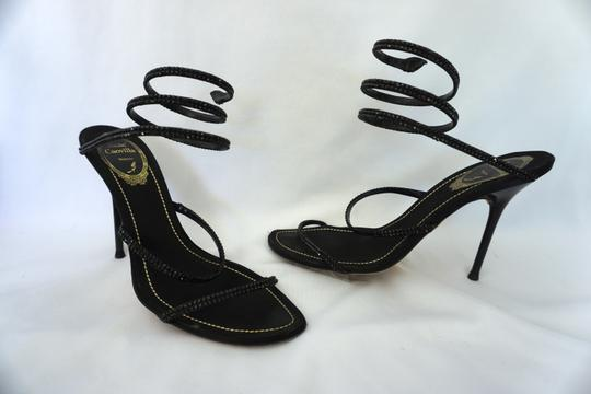 Rene Caovilla Wrap Around Embellished Strappy Black Sandals Image 6