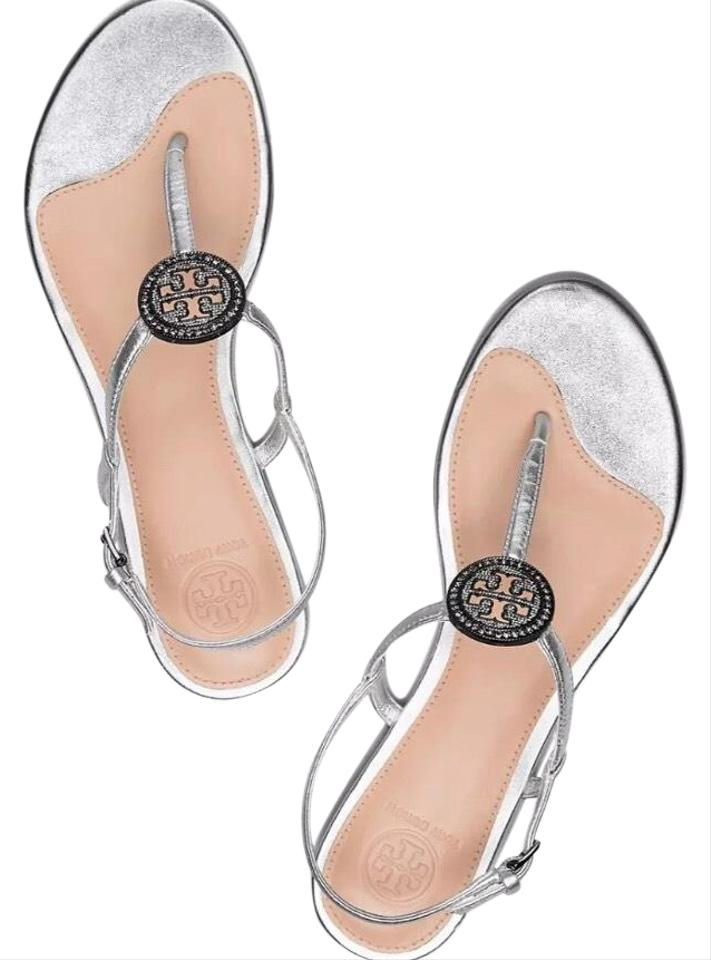 a73562f47cb Tory Burch Silver T New Liana Metallic Leather Crystals T-logo Sandals