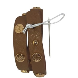 Tory Burch brown Stud double wrap leather
