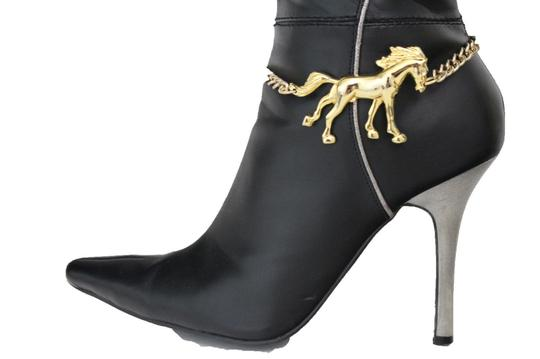 Alwaystyle4you Western Gold Metal Chains Boot Bracelet Wild Horse Bling Anklet Shoe Image 1
