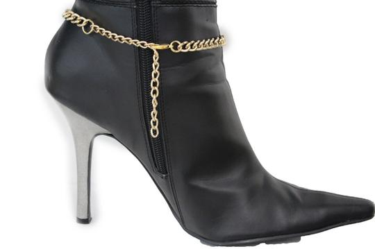 Alwaystyle4you Western Gold Metal Chains Boot Bracelet Wild Horse Bling Anklet Shoe Image 2
