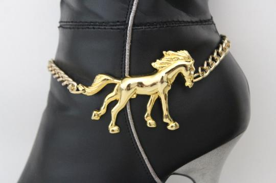 Alwaystyle4you Western Gold Metal Chains Boot Bracelet Wild Horse Bling Anklet Shoe Image 8