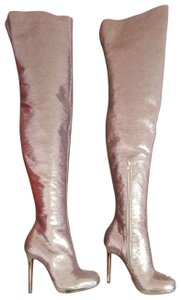 Christian Louboutin Stiletto Thigh High Sequin Italian Winter Nude Boots