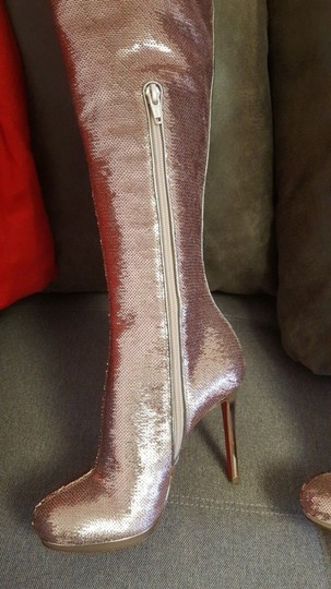 Christian Louboutin Stiletto Thigh High Sequin Italian Winter Nude Boots Image 2