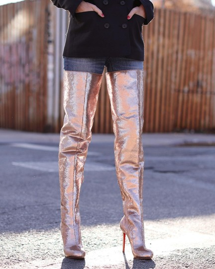 Christian Louboutin Stiletto Thigh High Sequin Italian Winter Nude Boots Image 3