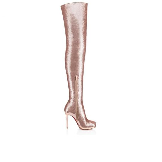 Christian Louboutin Stiletto Thigh High Sequin Italian Winter Nude Boots Image 4