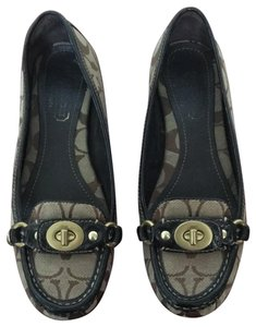 Coach parchment/ brown and tan Flats