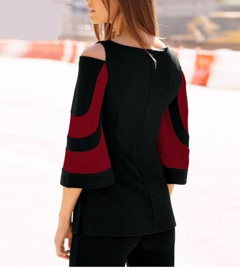 b1c815f377742 Red   Black Cold Shoulder Three Quarter Sleeve Women Patchwork ...