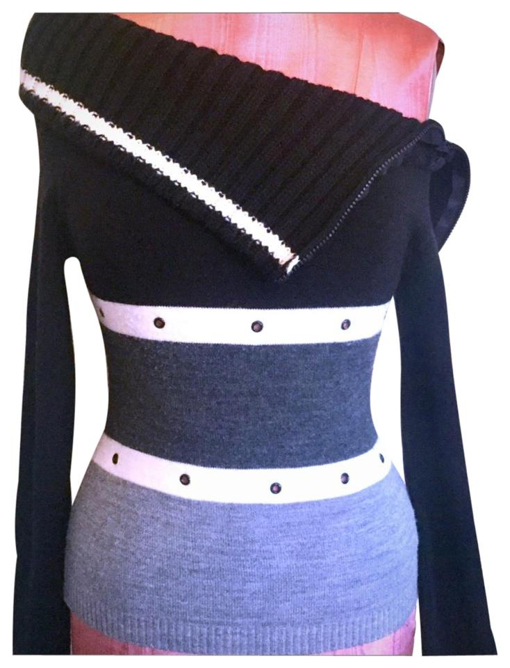 f67b3fd3142d0 Tri Color Zippered Off The Shoulder Black Grey   White Sweater - Tradesy