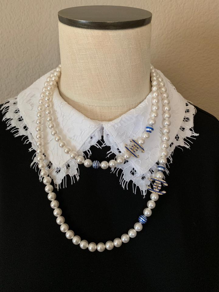 a1473be075c70 Chanel White/Blue Long Pearl with 2 Cc Logos 45