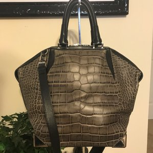 Alexander Wang Satchel in BLACK AND GRAY WITH SILVER HARDWARE