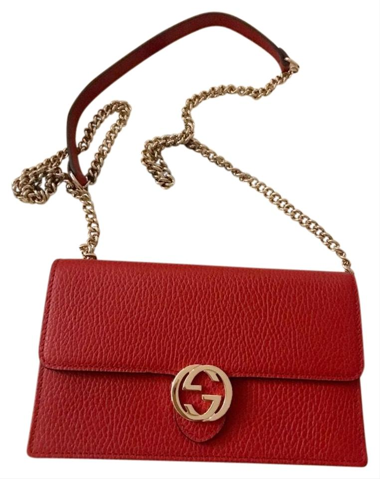 c74c38370733 Gucci Chain Wallet Red Leather Cross Body Bag - Tradesy