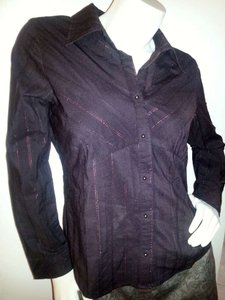 Faded Glory Western Brass Plum Button Down Shirt deep wine