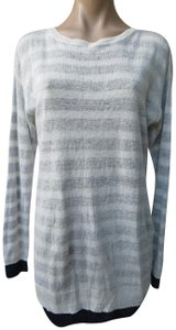 Three Dots Linen Knit Striped Size Medium Cross Over Sweater