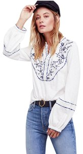 Free People Double D Ranch Style Button Down Shirt Ivory/White