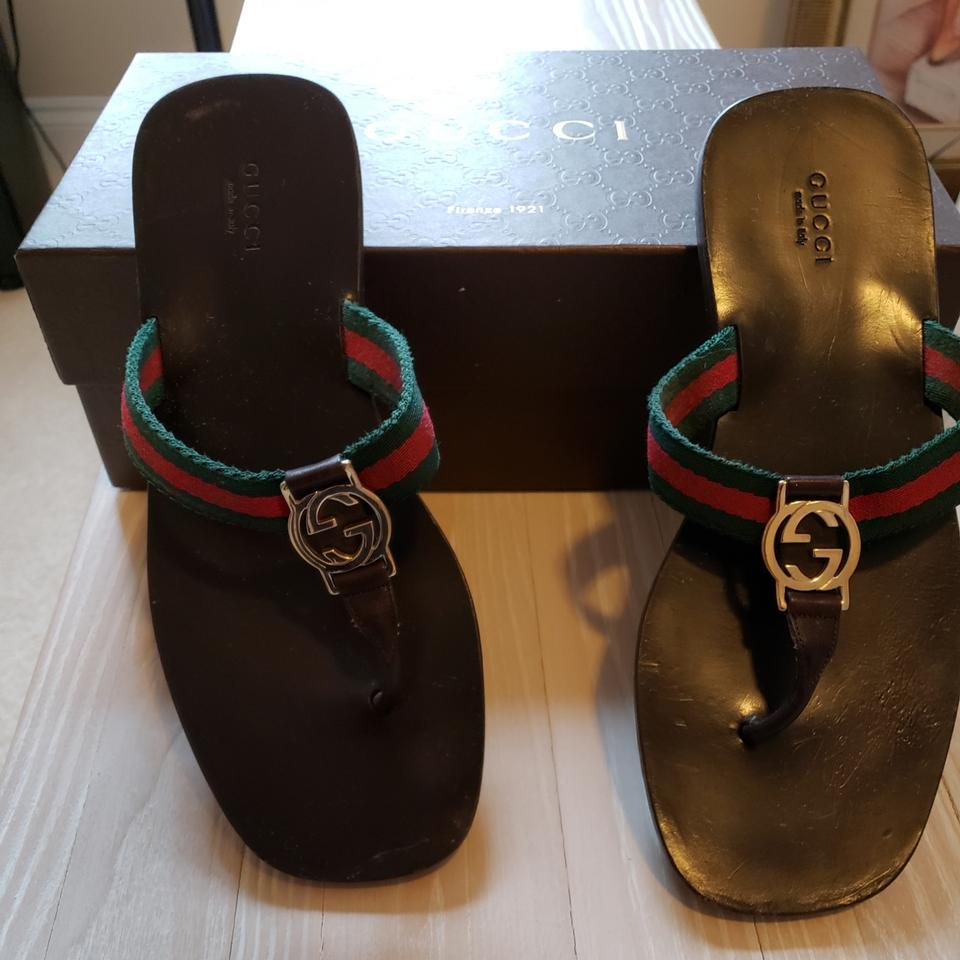 d75b182bde02 Gucci Brown and Green Red Hard Ware Flip Flops Sandals Size US 8 ...