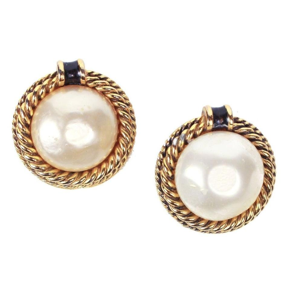 Chanel Large Gold Pearl Clip On Earrings Black And Rope Detail