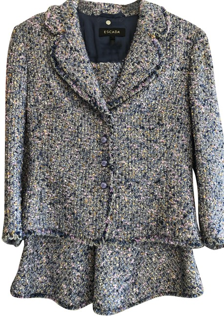 Item - Blue/Purple/Gold/White/Black Tweed Skirt Suit Size 6 (S)