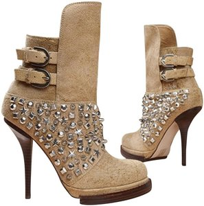 Jeffrey Campbell Suede Leather Ankle Heels Winter Fall Limited Special Edit Sold Out Rare Beige Boots