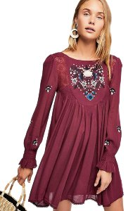 Free People short dress Burgundy Plum Feminine on Tradesy