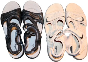 3bc40cbc40e Clarks Comfort Discount Fresh Punk Soothing Black and Beige Sandals
