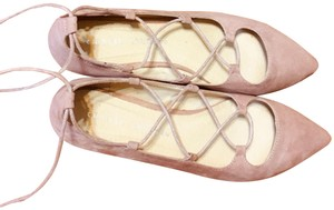 Chinese Laundry Light Ballet Tie Up Faux Suede Pink Flats