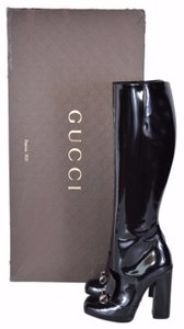 Gucci Patent Leather Knee High Black Boots