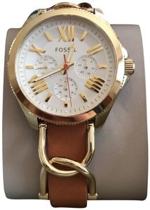 Fossil Gold Fossil Watch in Leather Strap