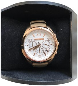 A|X Armani Exchange Rose Gold A|X Watch in Leather Strap