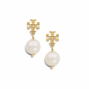 Tory Burch Tory Burch Evie Logo GOLD Crystal Pearl Drop Earrings 16k Ivory