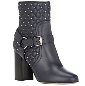Valentino Made In Italy Luxury Designer Spike Stud Rockstud Spike Quilted Leather Navy (Dark Blue) Boots