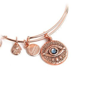 Alex and Ani BRAND NEW Alex and Ani Evil Eye Rose Gold Charm Expandable Bangle