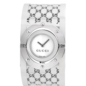 Gucci Gucci Silver Series 112 Twirl Bangle Wide White Dial Ya112413 Watch