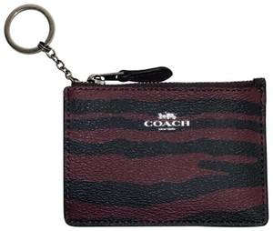 Coach New Coach Mini Skinny ID Case F39092 Key Coin Case Tiger Stripe Dark R
